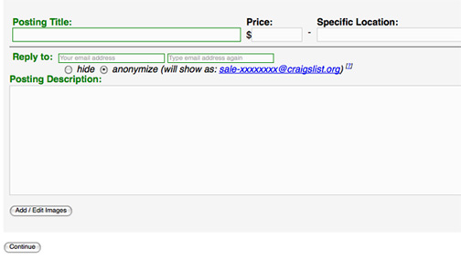 Create a Craigslist Account or Sell Without One