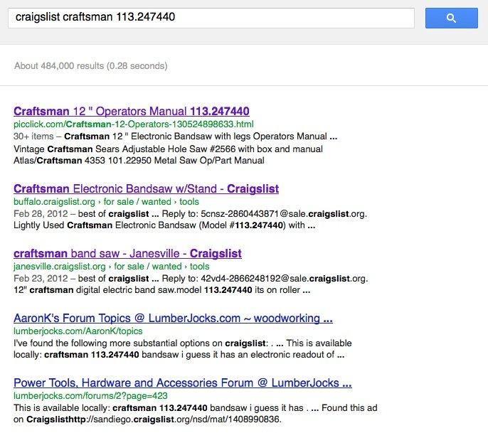 craigslist model number search