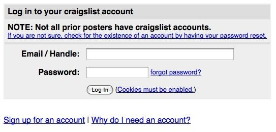 sign up for craigslist account