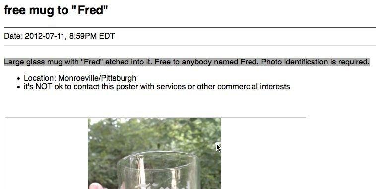 craigslist free fred mug