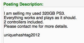 craigslist hashtag ps3
