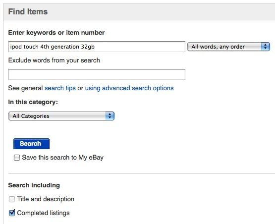 ebay completed listings