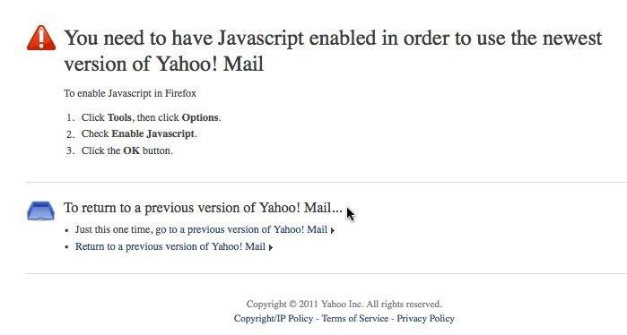 yahoo need javascript enabled