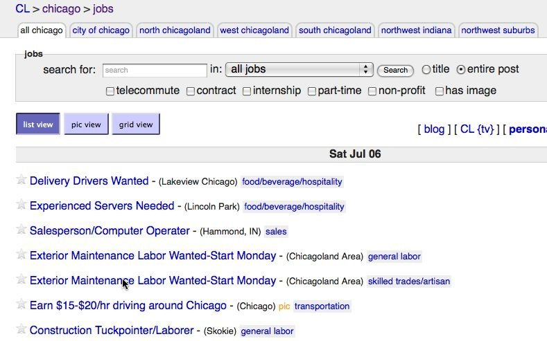 find job on craigslist