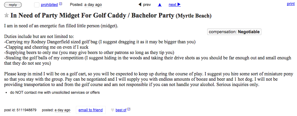 craigslist party midget ad myrtle beach