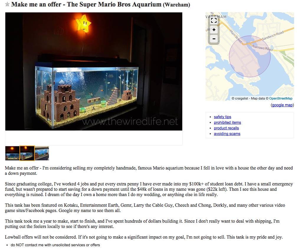 craigslist super mario aquarium ad