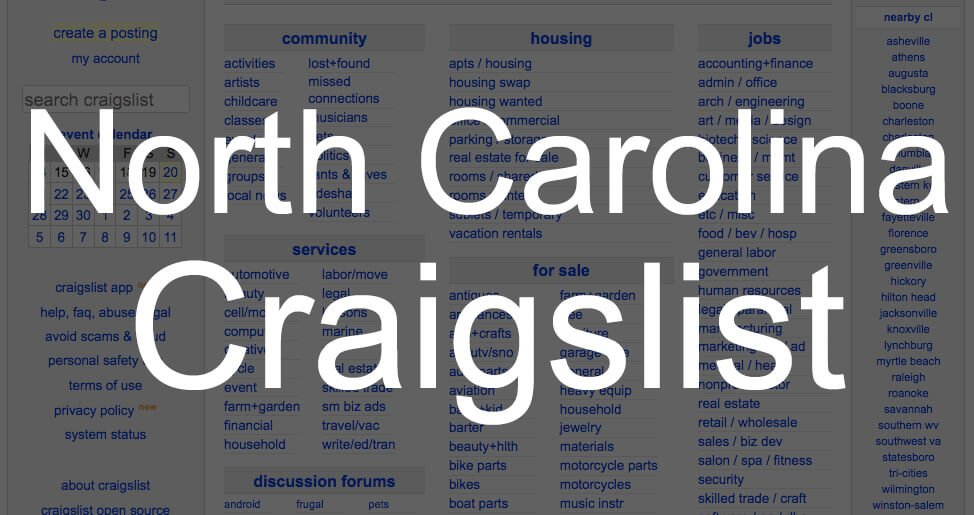 search all north carolina craigslist